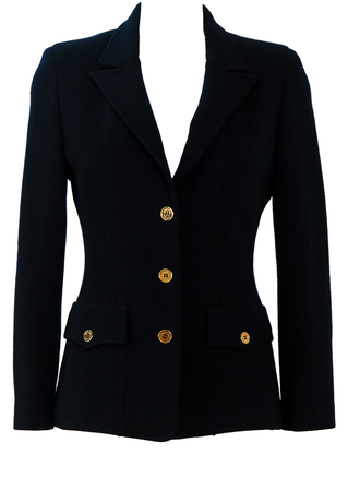 Luisa Spagnoli Pure Wool Navy Blue Jersey Blazer with Gold Buttons - S