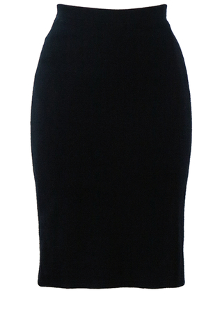 Navy Blue Jersey Knit Bodycon Pencil Skirt - S