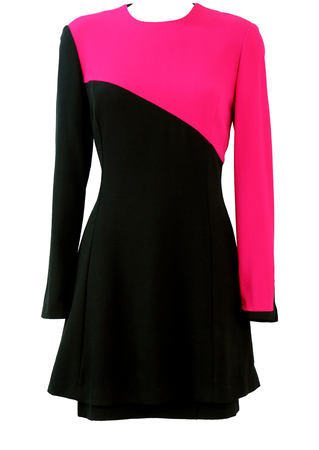 Black Tiered Above the Knee Dress with Bright Pink Asymmetric Panel - S