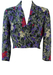 Vintage 60's Cropped Crossover Jacket with Grey, Pink & Lilac Floral Pattern - S