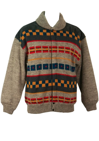 Iceberg Grey, Yellow, Red & Blue Wool Patterned Jacket - L/XL