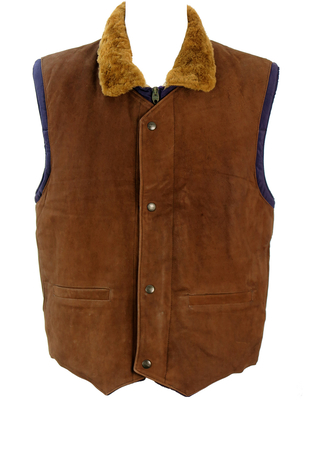 Chevignon Brown Leather & Purple Puffer Bodywarmer Gilet - L/XL