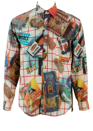 Shirt with Photographic Images of Classic Italian Grocery Products! - M/L