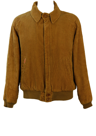 Camel Coloured Jumbo Cord Bomber Jacket with Fleece Lining - L/XL