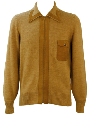 Vintage 60's Style Camel Coloured Zip Front Cardigan with Suede Detail - M