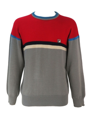 Vintage Fila Grey & Red Colour Block Wool Jumper with Navy Blue & White Stripes - M