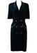 Navy Blue Double Breasted Midi Dress with White Piping & Decorative Buttons - M