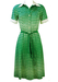 Vintage 70's Green Midi Dress with White Abstract Polka Dot Pattern - S/M