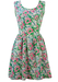 Above the Knee Sleeveless Flare Dress with Green, Pink & Blue Floral Pattern - M