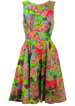 Bright Green Flare Dress with Pink & Purple Floral Print - S/M
