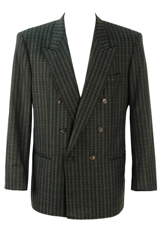 Double Breasted Blue & Grey Patterned Wool Blazer - L / XL