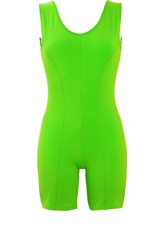 Bright Lime Green Bodycon Playsuit - S/M