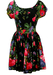Black Scoop Neck Flare Mini Dress with Pink, Purple & Yellow Floral Print - S/M