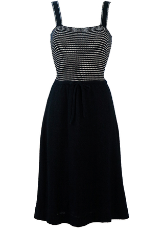 Navy Blue & White Striped Strappy Midi Dress - XS/S