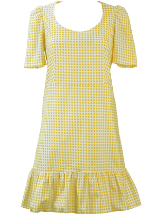 White Short Sleeve Mini Dress with Yellow Foral Motif Print & Frill Hem - S/M