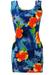 Blue Bodycon Mini Dress with Orange & Yellow Tropical Hawaiian Floral Print - S
