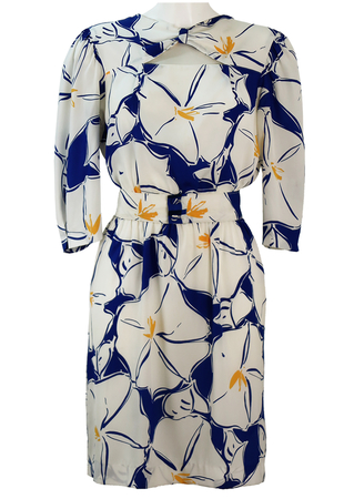 Floaty Knee Length Dress with White & Blue Foral Print & Peek a Boo Neckline - M/L