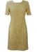 Vintage 60's Style, Knee Length Cream & Beige Lace Shift Dress - M