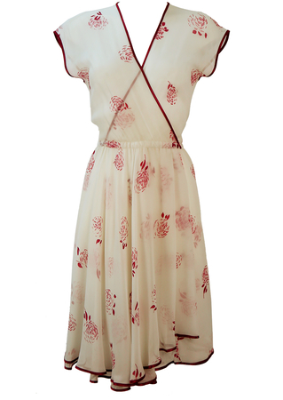 Semi Sheer White Floaty Midi Dress with Burgundy Floral Design & Layered Skirt - M