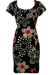 Pierre Cardin Black Bodycon Dress with Red & White Polka Dot Floral Pattern - M