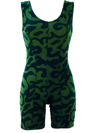 Green & Navy Blue Abstract Print Bodycon Playsuit - M
