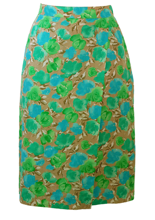 Taupe Knee Length Skirt with Mint Green & Blue Rose Pattern - S/M