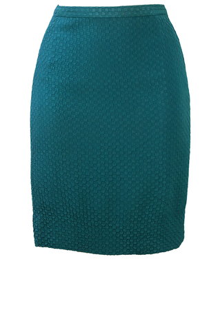 Blue Mini Pencil Skirt with Checker Board Style Textured Pattern - XS/S
