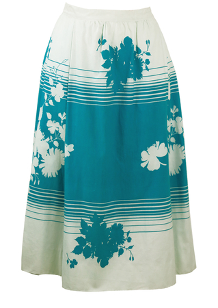 White & Blue Silhouette Floral Print and Stripe Midi Skirt - M