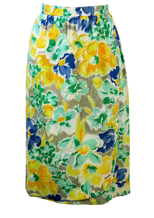 Midi Black & White Stripe Skirt with Yellow, Blue & Mint Floral Pattern - S