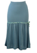 Part Bodycon & Part Flared Midi Blue Skirt with Floral Band Detail - XS/S