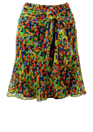 Silk & Cotton Multicoloured Floaty Mini Skirt with Sash Detail - S