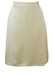 Cream Knee Length Silk Skirt with Wrap Front & Fine Grid Texture - S