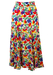 Semi Sheer Midi Skirt with Multicoloured Floral Print & Side Split - XS/S