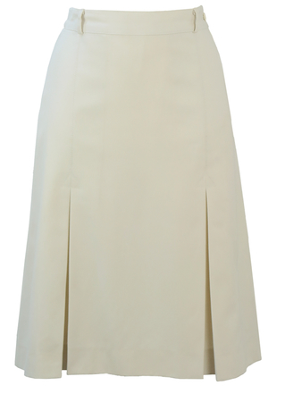 Vintage 70's White Knee Length Skirt with Inverted Pleats - S