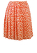 Pleated Coral Coloured Mini Skirt with White Floral Print - S/M