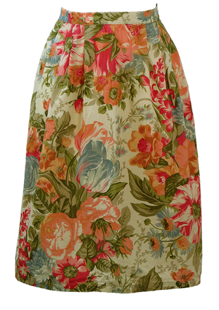Cream Midi Skirt with Peach, Pink, Green & Blue Floral Print - S/M