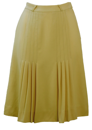 Vintage 80's Cream Knee Length Skirt with Pleat Detail - S
