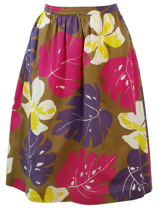 Knee Length Flared Skirt with Pink, Purple & Yellow Tropical Floral Print - S/M