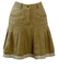 Tyrolean Beige Linen Mini Skirt with Floral Embroidery & Lace Hem - S