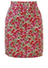 Mini Pencil Skirt with Pink, Grey & White Floral Pattern - S
