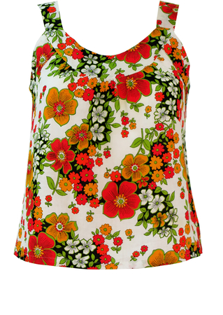 Vintage 60's White Strap Top with Red, Yellow & Green Floral Pattern - S