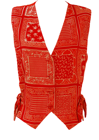 Side Tie Waistcoat with Red & White Paisley, Floral & Check Pattern - M