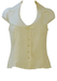 Sleeveless Cream Linen Blouse with Large Collar Detail - M