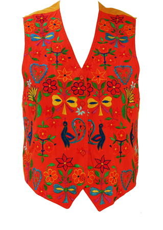 Oilily Orange Waistcoat with Foral & Peacock Embroidered Folk Style Pattern - M