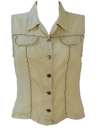 Cream Linen Sleeveless Blouse with Brown Zig Zag Stitch Detail - S