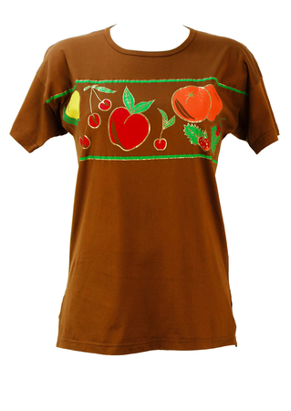 Brown T-Shirt with Multi Coloured Fruit Pattern - M