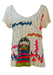 Marc Jacobs Cream T-Shirt with Multi Coloured Child's Drawing Design - M/L