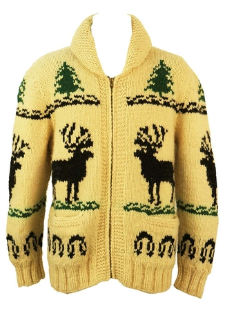 Hand Knitted Cream Curling Sweater with Stag Design - L/XL