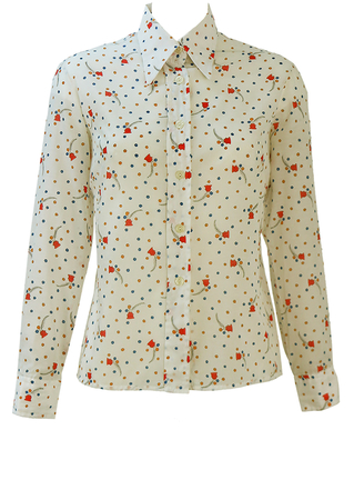 Vintage 60's White Shirt with Blue, Yellow & Red Ditsy Floral Print - M/L