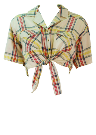 Cropped, Cream Tie Front Shirt with Blue, Yellow & Red Check - M